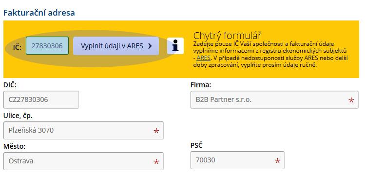 Chytrý formulář na www.b2bpartner.cz