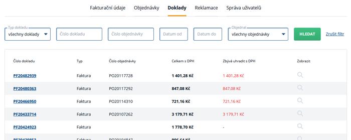 Doklady k objednávkám na www.b2bpartner.cz