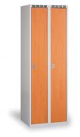Kovové šatní skříňky s dřevěnými dveřmi