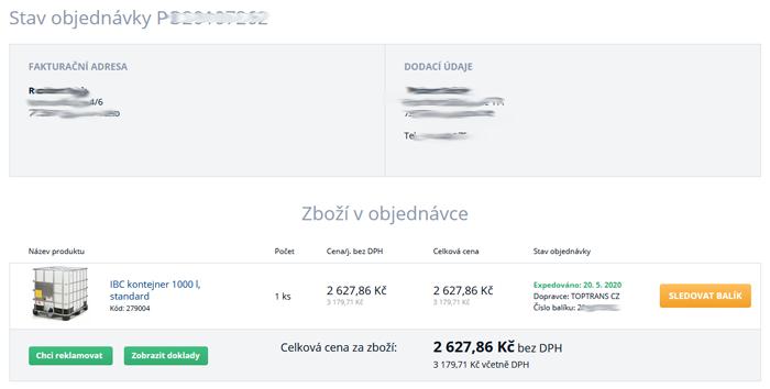 Sledování objednávek na www.b2bpartner.cz