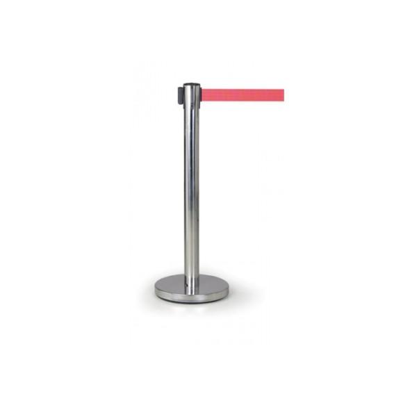 Zahradzovací stĺpik so samonavíjacím pásom, červený