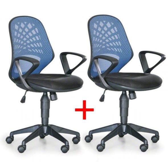Kancelárska stolička FLER, Akce 1+1 ZADARMO, modrá