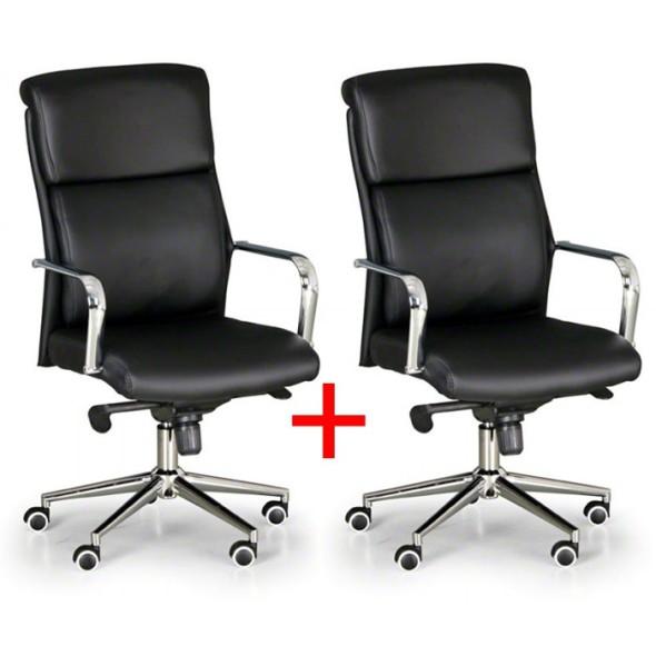Kožené kancelárske kreslo VIRO, Akce 1+1 ZADARMO, čierna