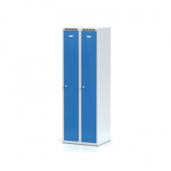 Kovová šatníková skriňa, modré dvere, cylindrický zámok
