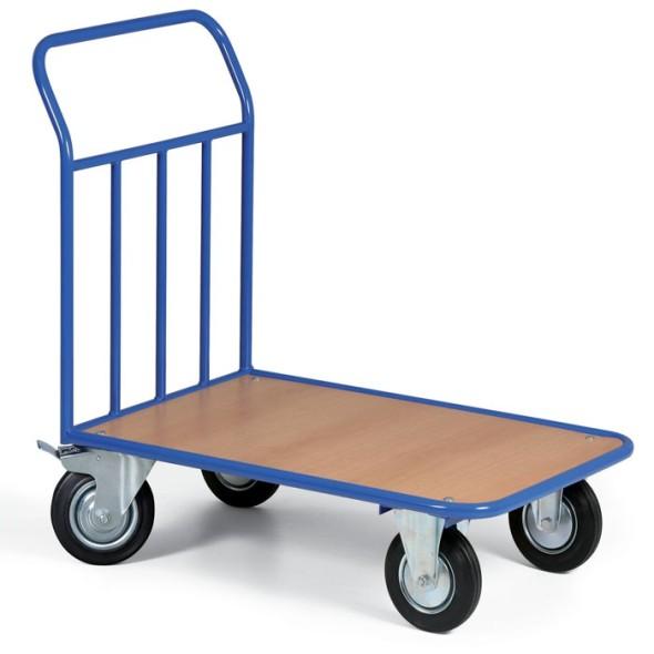 Plošinový vozík s výplňou madlá, plošina 970x660 mm, 300 kg