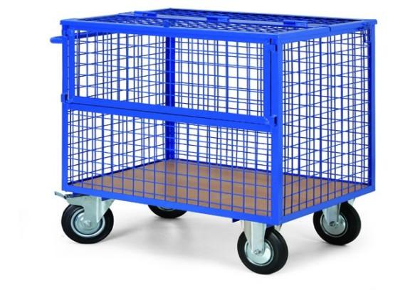 Plošinový vozík s drôtenými stenami a vekom