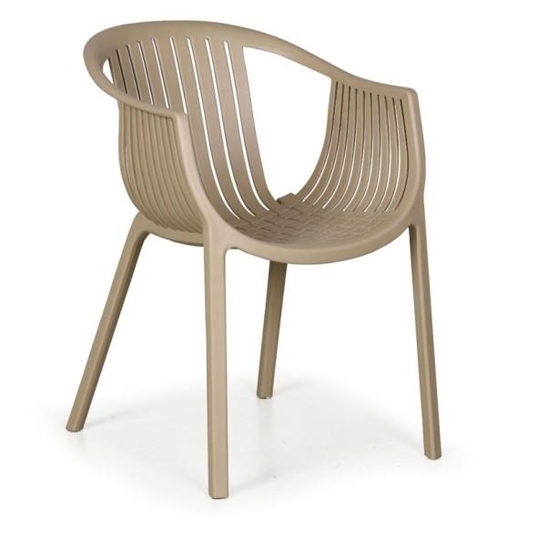 Plastová bistro stolička LOUNGE, béžová, 4 ks