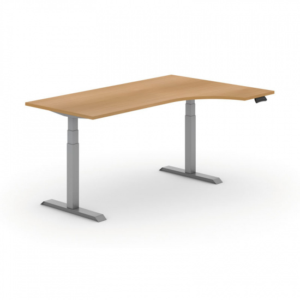 Výškovo nastaviteľný stôl, elektrický, 625-1275 mm, ergonomický pravý, doska 1800x1200 mm, buk, sivá podnož