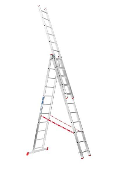 Trojdielny výsuvný viacúčelový rebrík HOBBY, 3x11 priečok, 6,75 m