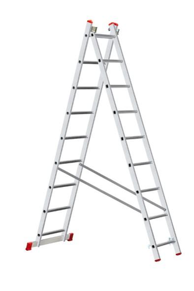 Hliníkový dvojdielny výsuvný viacúčelový rebrík HOBBY, 2x9 priečok, 3,94 m