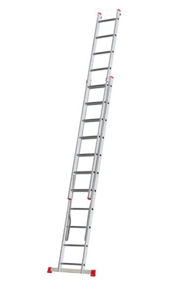 Hliníkový dvojdielny výsuvný viacúčelový rebrík HOBBY, 2x11 priečok, 5,06 m