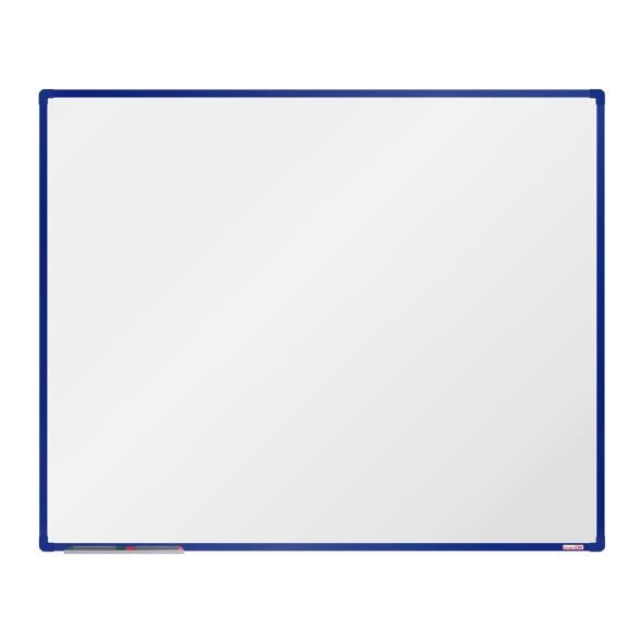 Biela magnetická popisovacia tabuľa boardOK, 150 x 120 cm, modrý rám