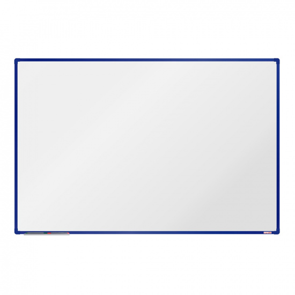 Biela magnetická popisovacia tabuľa boardOK, 180 x 120 cm, modrý rám