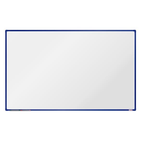 Biela magnetická popisovacia tabuľa boardOK, 200x120 cm, modrý rám