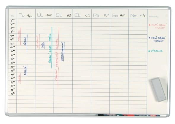 Týždenná plánovacia tabuľa ekoTAB, 100x70 cm, lakovaná