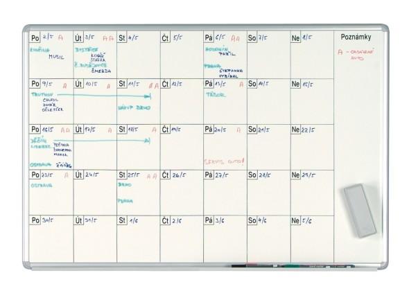Mesačná plánovacia tabuľa ekoTAB, 100x70 cm, lakovaná