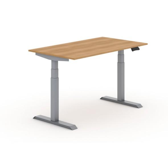 Výškovo nastaviteľný stôl, elektrický, 625-1275 mm, doska 1400x800 mm, buk, sivá podnož