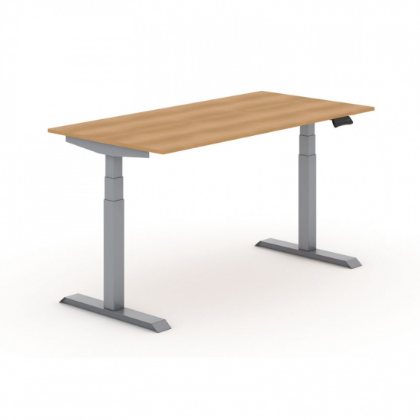 Výškovo nastaviteľný stôl, elektrický, 625-1275 mm, doska 1800x800 mm, buk, sivá podnož