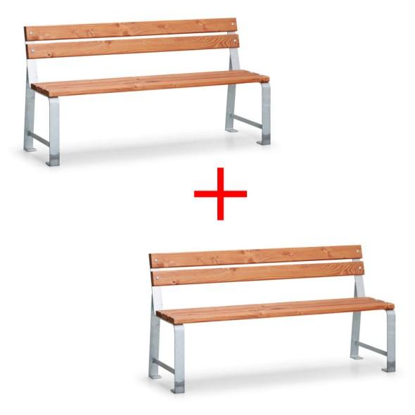 Parková lavička MEZZO s operadlom, dĺžka 1,5 m, 1+1 ZADARMO
