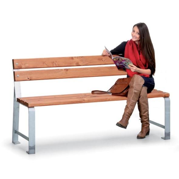 Parková lavička MEZZO s operadlom, dĺžka 1,5 m