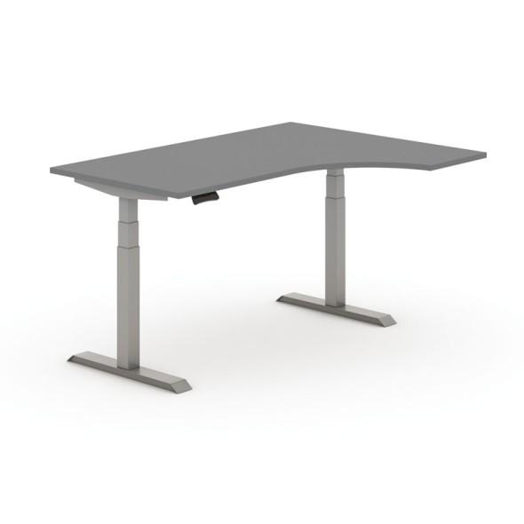 Výškovo nastaviteľný stôl, elektrický, 625-1275 mm, ergonomický ľavý, doska 1600x1200 mm, antracit, sivá podnož