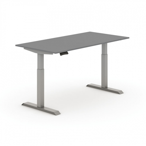 Nastaviteľný stôl elektrický, antracit 1600 x 800 mm, sivá podnož, 2 motory