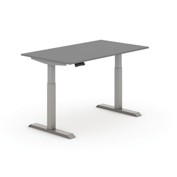 Nastaviteľný stôl elektrický, antracit 1400 x 800 mm, sivá podnož, 2 motory