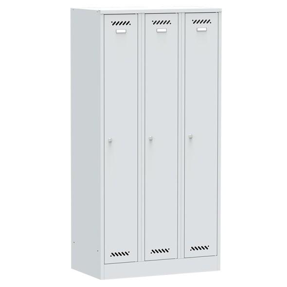 Kovová šatňová skriňa, 3-dverová na sokli, sivé dvere, cylindrický zámok