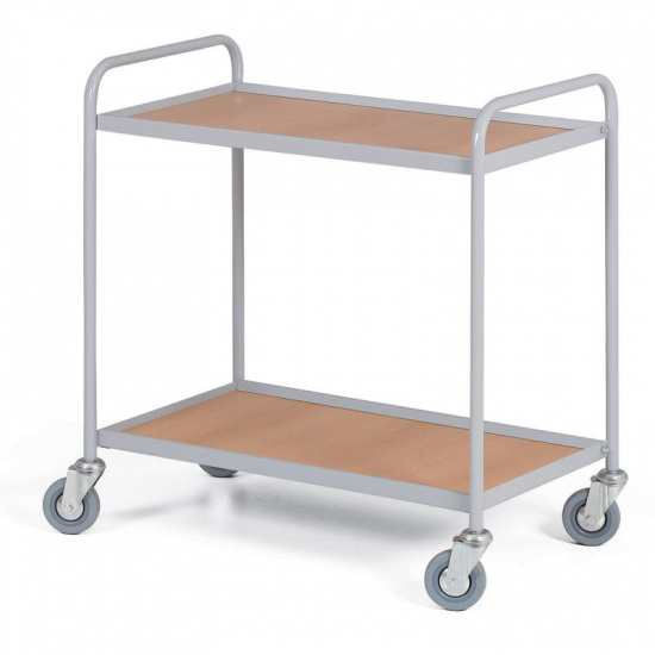 Policový vozík s 2 policami 750 x 420 mm, 100 kg, sivý