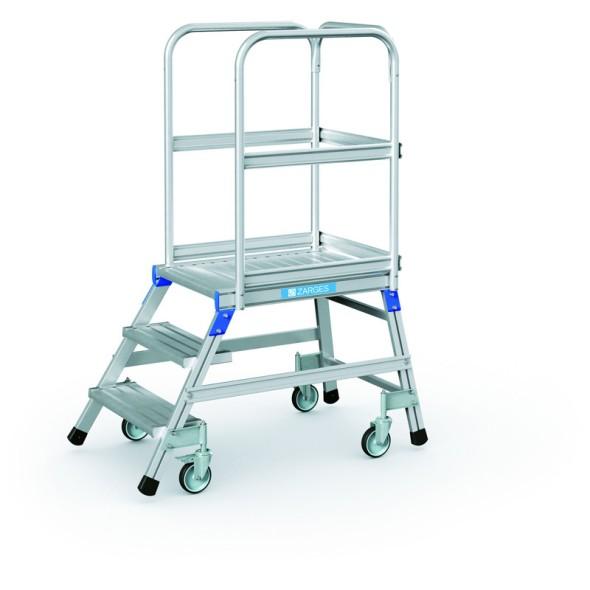 Hliníkový pojazdný rebrík s plošinou, 3 priečky, výška plošiny 0,7 m