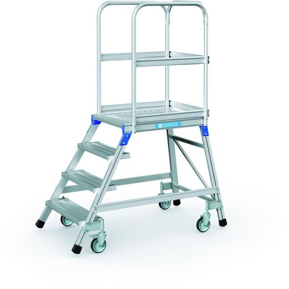 Hliníkový pojazdný rebrík s plošinou, 4 priečky, výška plošiny 0,96 m