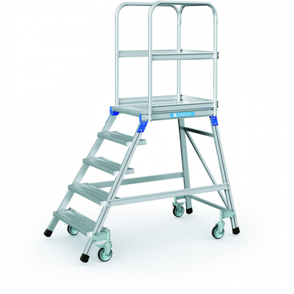 Hliníkový pojazdný rebrík s plošinou, 5 priečok, výška plošiny 1,2 m