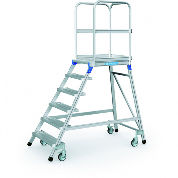 Hliníkový pojazdný rebrík s plošinou, 6 priečok, výška plošiny 1,44 m