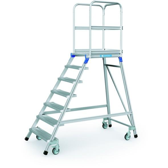Hliníkový pojazdný rebrík s plošinou, 7 priečok, výška plošiny 1,68 m