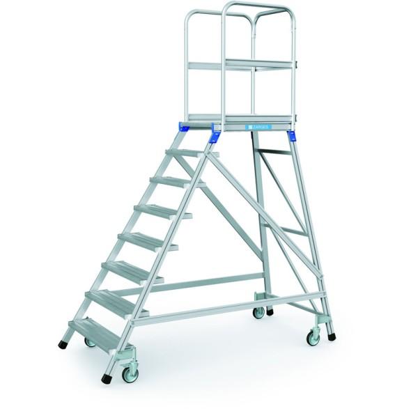 Hliníkový pojazdný rebrík s plošinou, 8 priečok, výška plošiny 1,92 m