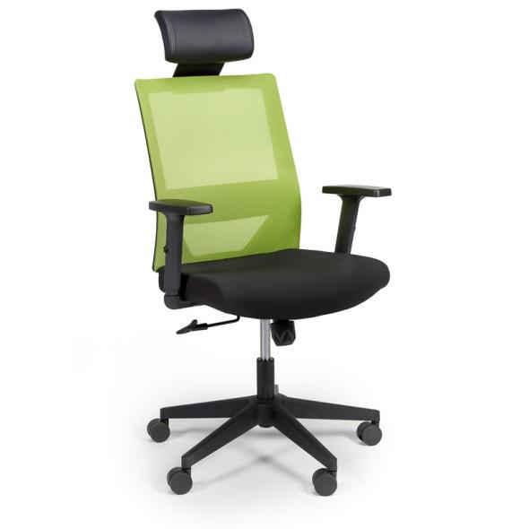 Kancelárska stolička so sieťovaným operadlom WOLF, nastaviteľné podrúčky, plastový kríž, 1 + 1 ZADARMO, zelená