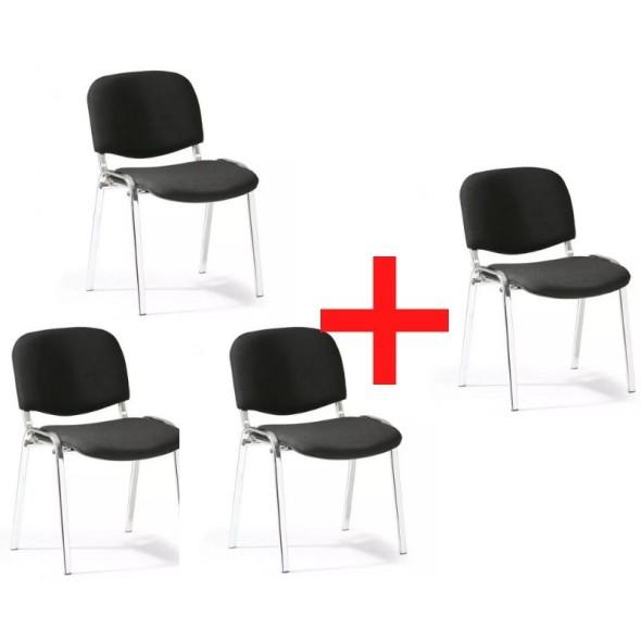 Konferenčná stolička VIVA chróm 3+1 ZADARMO, čierne