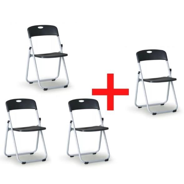 Skladacia stolička Clack 3+1 zadarmo, čierna