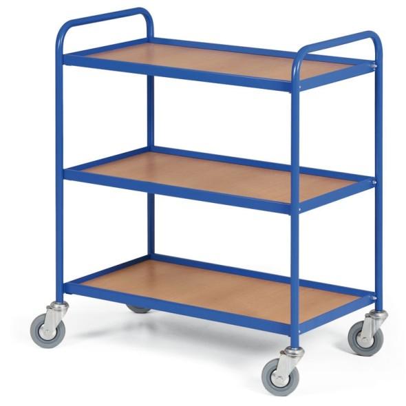 Policový vozík s 3 policami 750 x 420 mm, 100 kg, modrý