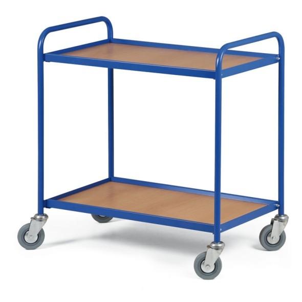 Policový vozík s 2 policami 750 x 420 mm, 100 kg modrý