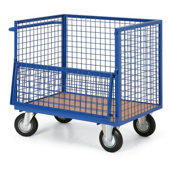 Plošinový vozík s drôtenými stenami