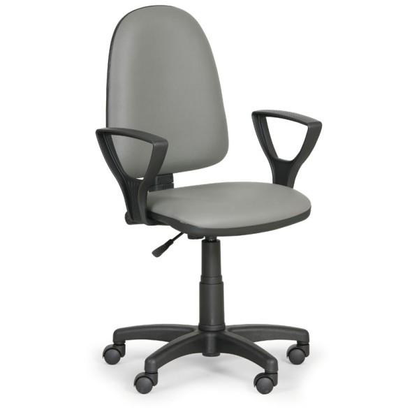 Pracovná stolička Torino s podpierkami rúk, sivá