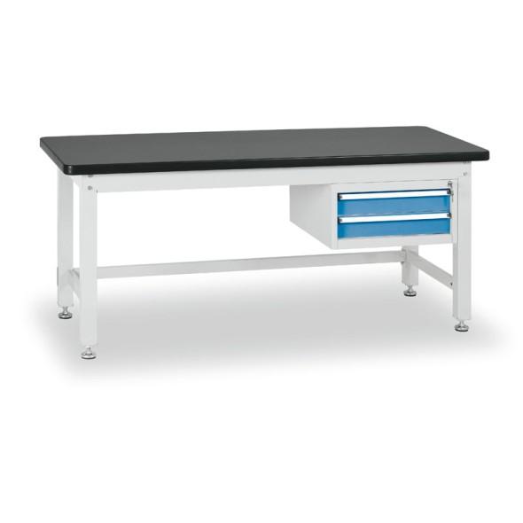 Dielenský stôl s dvojzásuvkovým kontajnerom, dĺžka 2100 mm