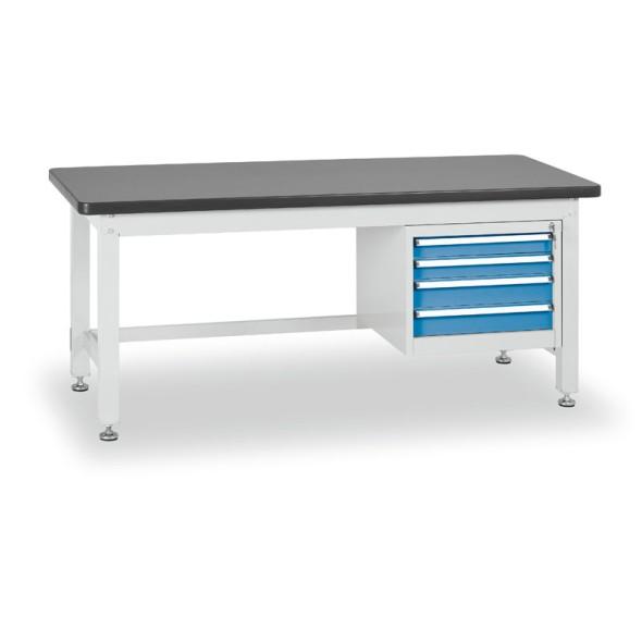 Dielenský stôl so štvorzásuvkovým kontajnerom, dĺžka 2100 mm