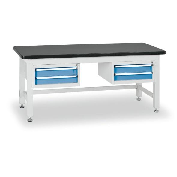 Dielenský stôl s dvojzásuvkovými kontajnermi, dĺžka 2100 mm