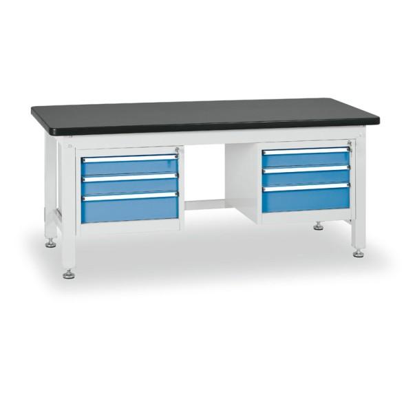 Dielenský stôl s trojzásuvkovými kontajnermi, dĺžka 2100 mm