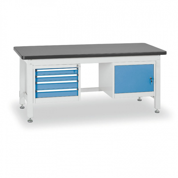Dielenský stôl so skrinkou a zásuvkovým kontajnerom, dĺžka 2100 mm