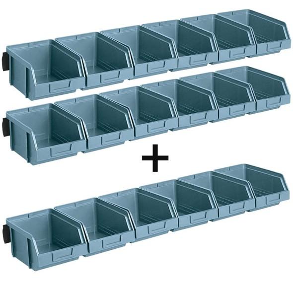 Oceľové lišty so 6 plastovými boxmi, 2+1 ZADARMO