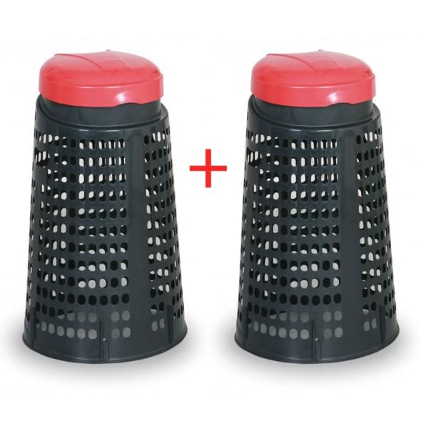 Odpadkový kôš plastový na vrecia 120 l - 1+1 ZADARMO, čierna/červená