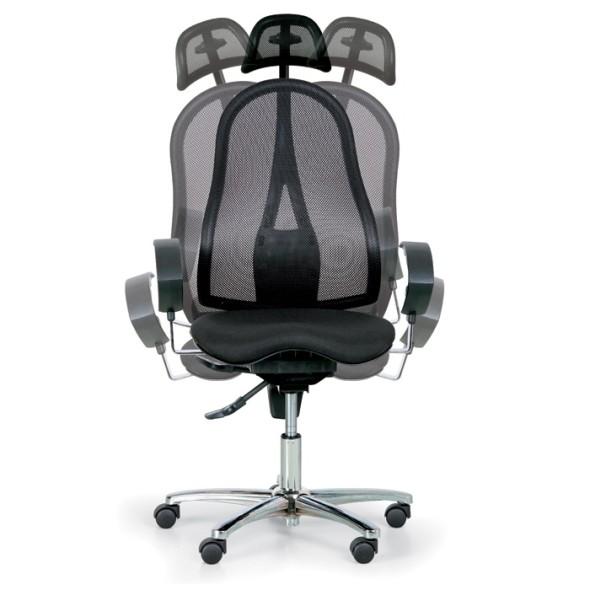 Zdravotní balanční kancelářská židle EXETER NET s opěrkou hlavy, černá